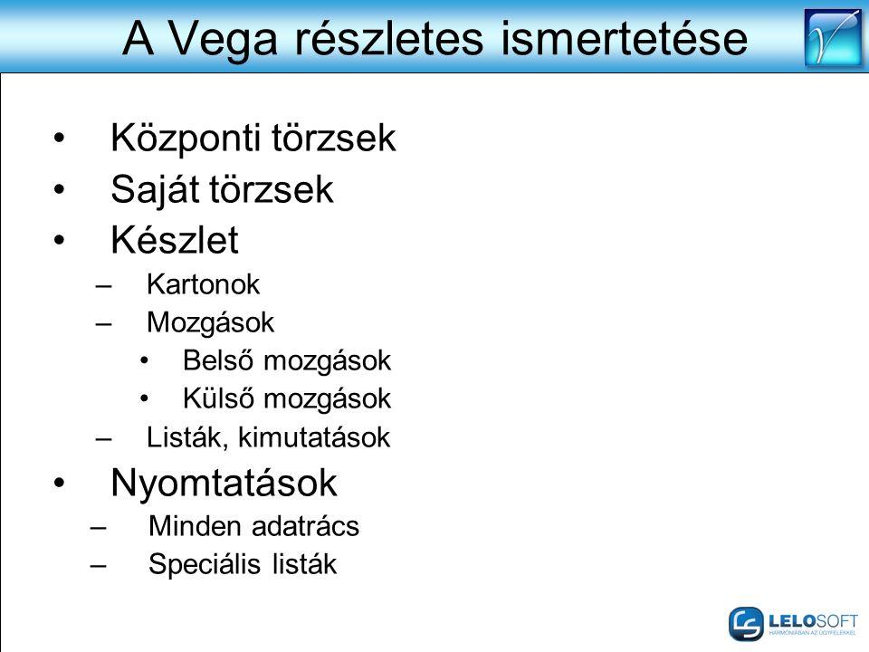 A Vega részletes ismertetése •Központi törzsek •Saját törzsek •Készlet –Kartonok –Mozgások •Belső mozgások •Külső mozgások –Listák, kimutatások •Nyomt