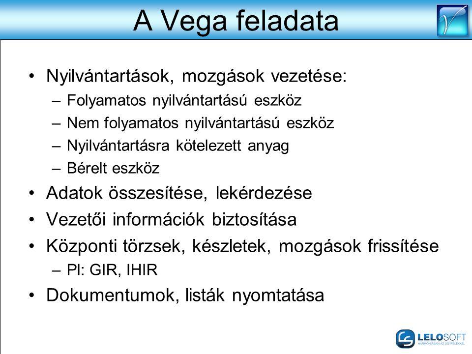A Vega feladata •Nyilvántartások, mozgások vezetése: –Folyamatos nyilvántartású eszköz –Nem folyamatos nyilvántartású eszköz –Nyilvántartásra köteleze