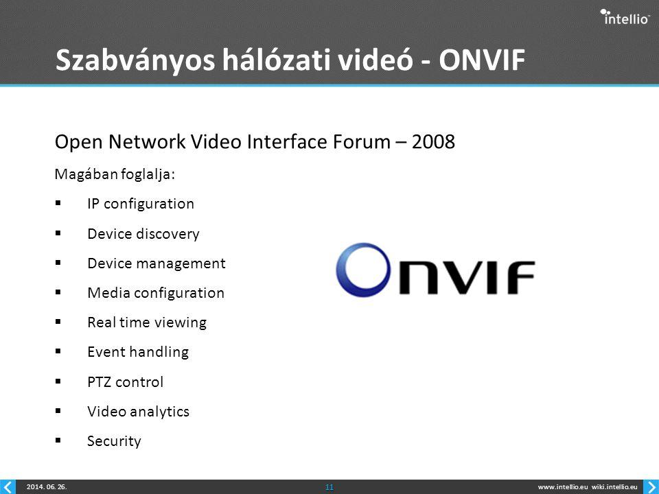 www.intellio.euwiki.intellio.eu2014. 06. 26.11 Szabványos hálózati videó - ONVIF Open Network Video Interface Forum – 2008 Magában foglalja:  IP conf
