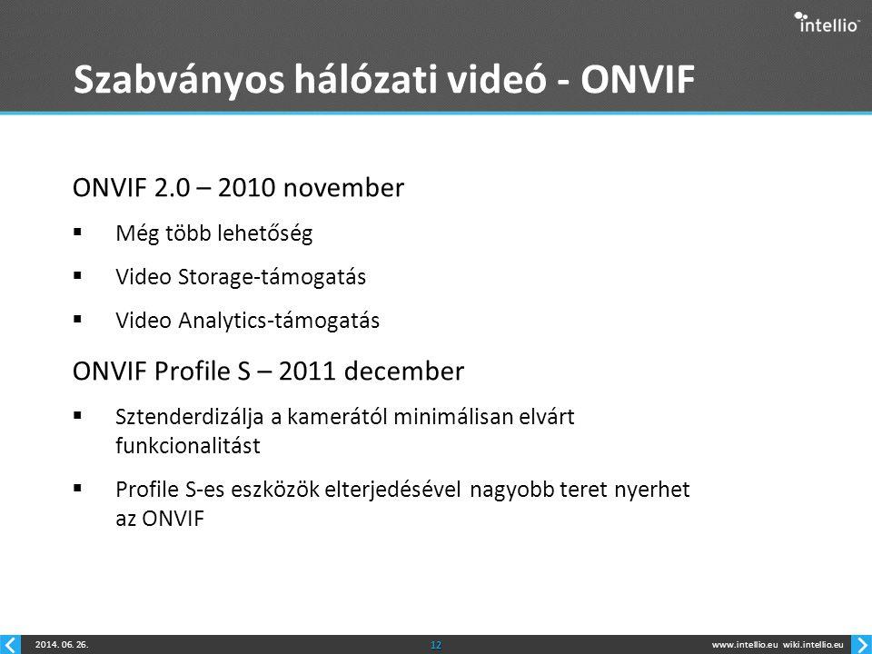 www.intellio.euwiki.intellio.eu2014. 06. 26.12 Szabványos hálózati videó - ONVIF ONVIF 2.0 – 2010 november  Még több lehetőség  Video Storage-támoga