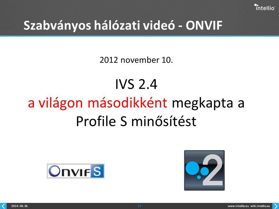 www.intellio.euwiki.intellio.eu2014. 06. 26.13 Szabványos hálózati videó - ONVIF 2012 november 10. IVS 2.4 a világon másodikként megkapta a Profile S