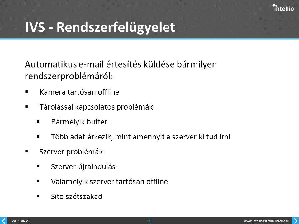www.intellio.euwiki.intellio.eu2014. 06. 26.19 IVS - Rendszerfelügyelet Automatikus e-mail értesítés küldése bármilyen rendszerproblémáról:  Kamera t