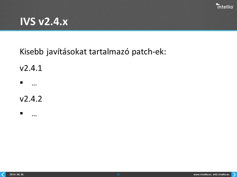 www.intellio.euwiki.intellio.eu2014. 06. 26.20 IVS v2.4.x Kisebb javításokat tartalmazó patch-ek: v2.4.1  … v2.4.2  …