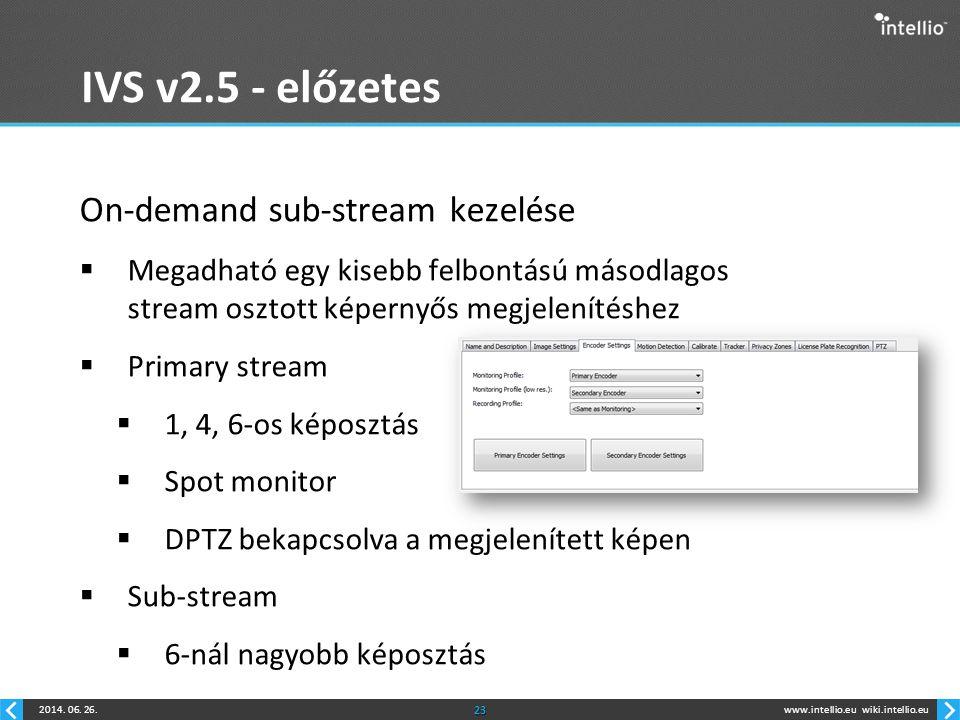 www.intellio.euwiki.intellio.eu2014. 06. 26.23 IVS v2.5 - előzetes On-demand sub-stream kezelése  Megadható egy kisebb felbontású másodlagos stream o