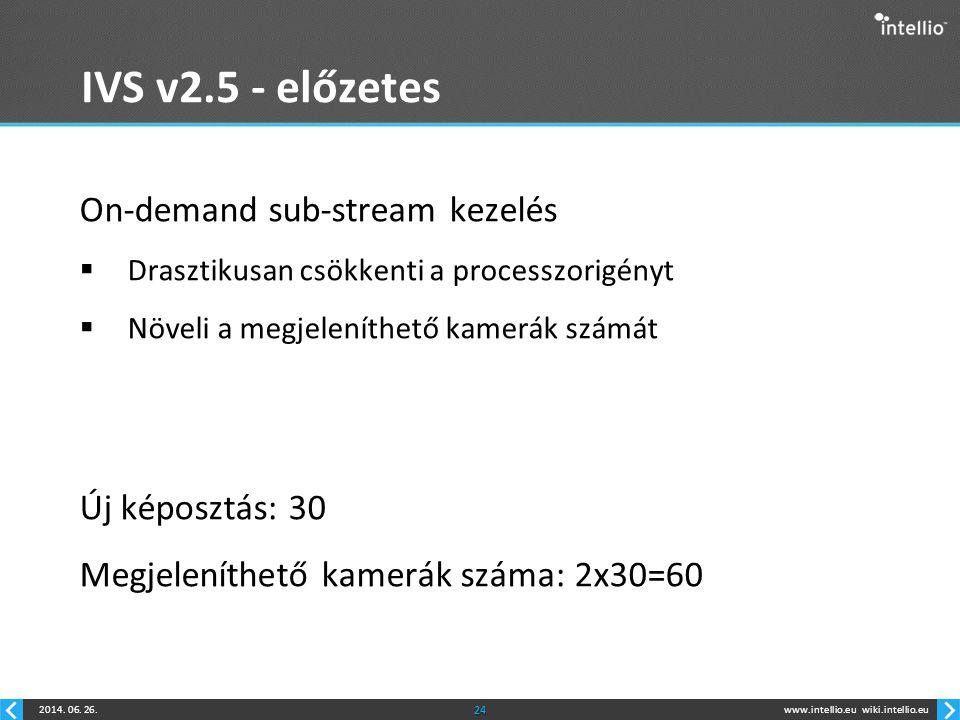 www.intellio.euwiki.intellio.eu2014. 06. 26.24 IVS v2.5 - előzetes On-demand sub-stream kezelés  Drasztikusan csökkenti a processzorigényt  Növeli a