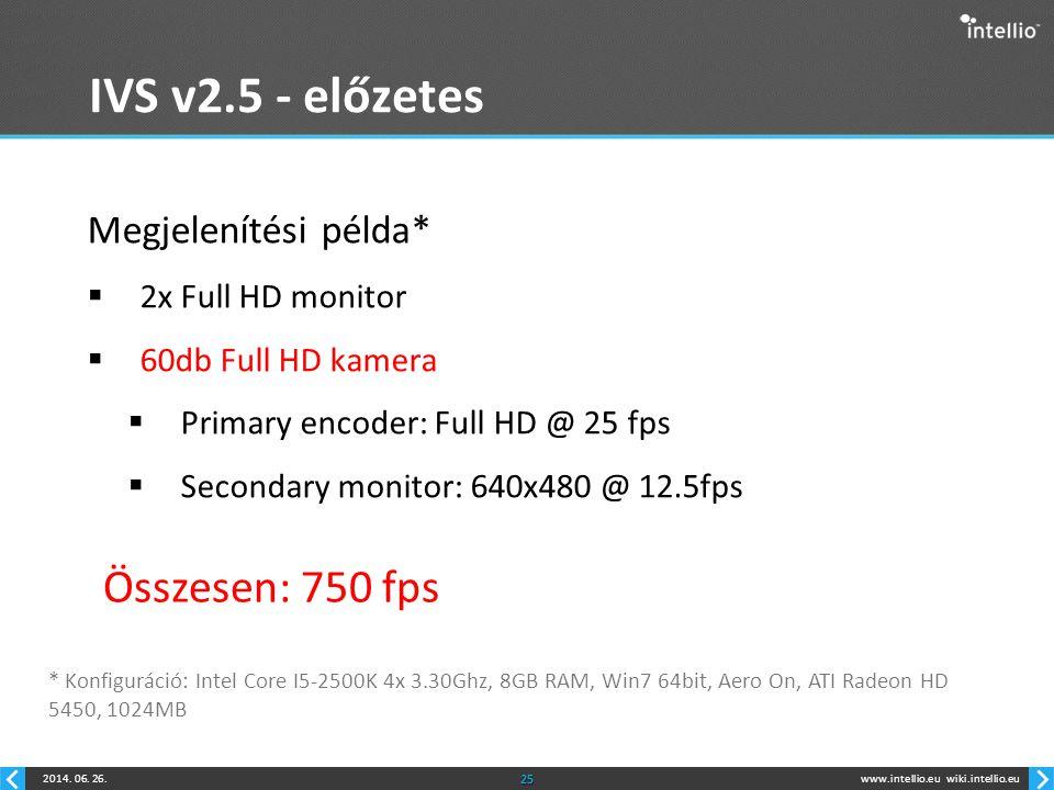 www.intellio.euwiki.intellio.eu2014. 06. 26.25 IVS v2.5 - előzetes Megjelenítési példa*  2x Full HD monitor  60db Full HD kamera  Primary encoder: