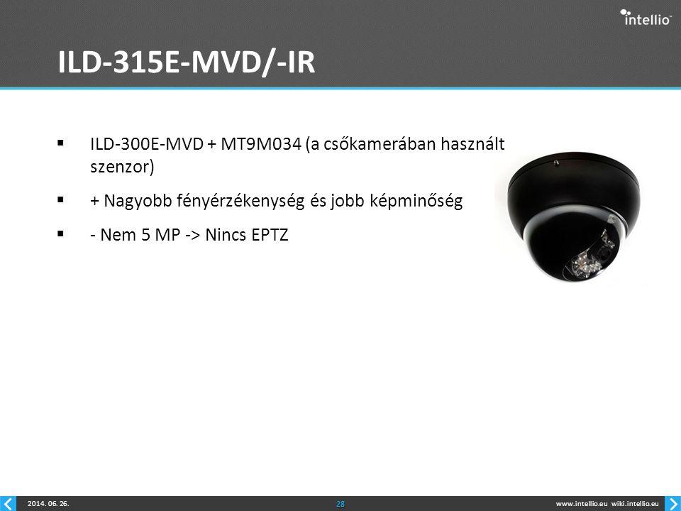www.intellio.euwiki.intellio.eu2014. 06. 26.28 ILD-315E-MVD/-IR  ILD-300E-MVD + MT9M034 (a csőkamerában használt szenzor)  + Nagyobb fényérzékenység