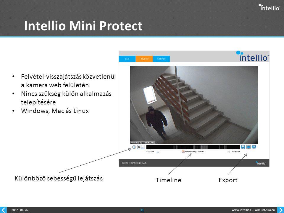 www.intellio.euwiki.intellio.eu2014. 06. 26.31 Intellio Mini Protect • Felvétel-visszajátszás közvetlenül a kamera web felületén • Nincs szükség külön