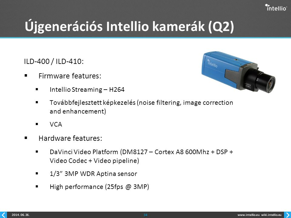 www.intellio.euwiki.intellio.eu2014. 06. 26.34 Újgenerációs Intellio kamerák (Q2) ILD-400 / ILD-410:  Firmware features:  Intellio Streaming – H264