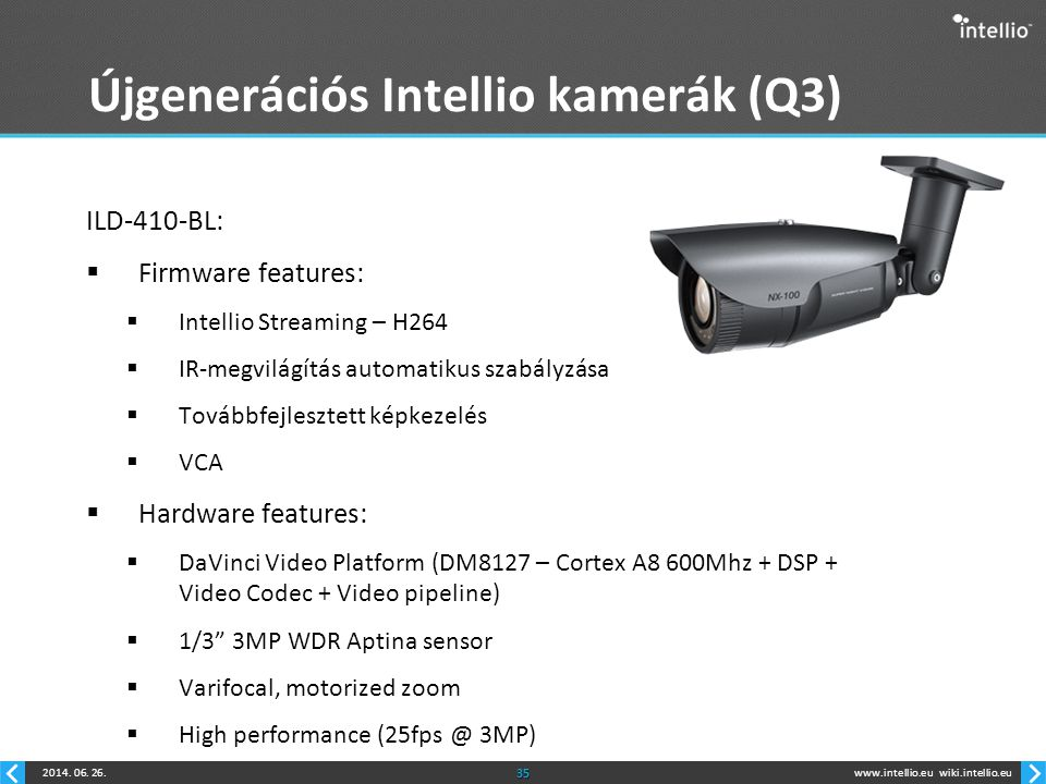 www.intellio.euwiki.intellio.eu2014. 06. 26.35 Újgenerációs Intellio kamerák (Q3) ILD-410-BL:  Firmware features:  Intellio Streaming – H264  IR-me