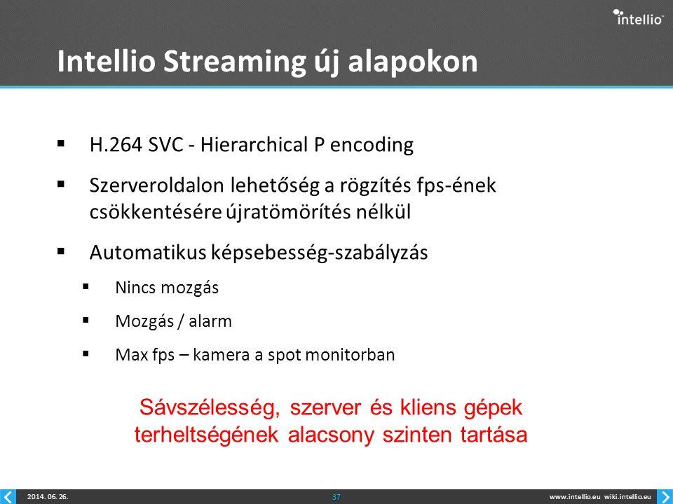 www.intellio.euwiki.intellio.eu2014. 06. 26.37 Intellio Streaming új alapokon  H.264 SVC - Hierarchical P encoding  Szerveroldalon lehetőség a rögzí