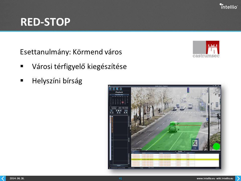 www.intellio.euwiki.intellio.eu2014. 06. 26.41 RED-STOP Esettanulmány: Körmend város  Városi térfigyelő kiegészítése  Helyszíni bírság