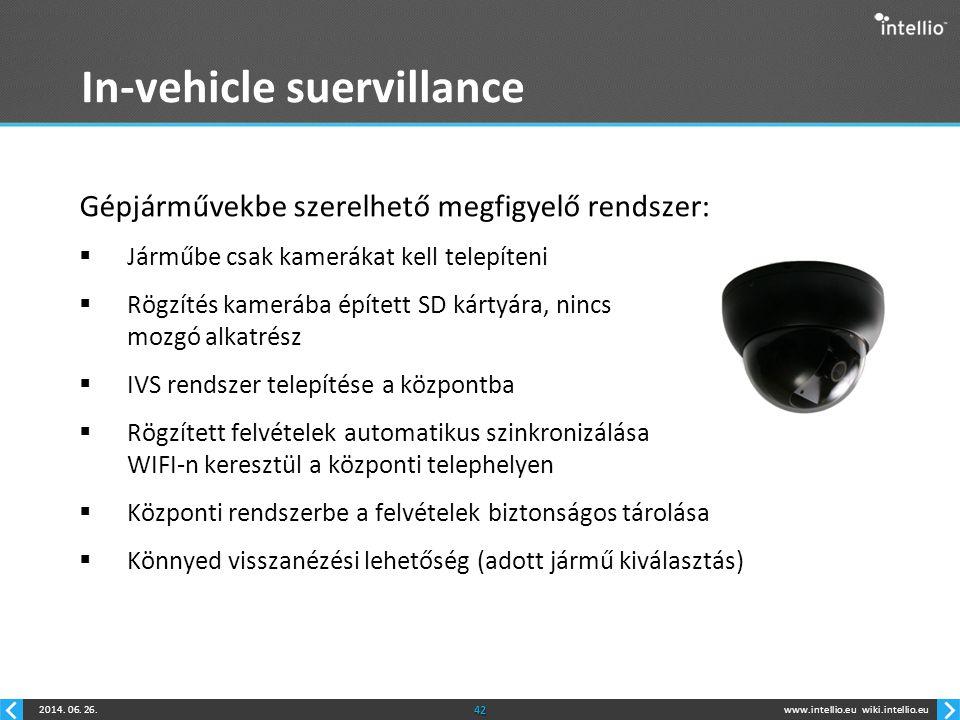 www.intellio.euwiki.intellio.eu2014. 06. 26.42 In-vehicle suervillance Gépjárművekbe szerelhető megfigyelő rendszer:  Járműbe csak kamerákat kell tel