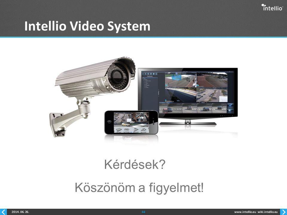 www.intellio.euwiki.intellio.eu2014. 06. 26.44 Intellio Video System Kérdések? Köszönöm a figyelmet!