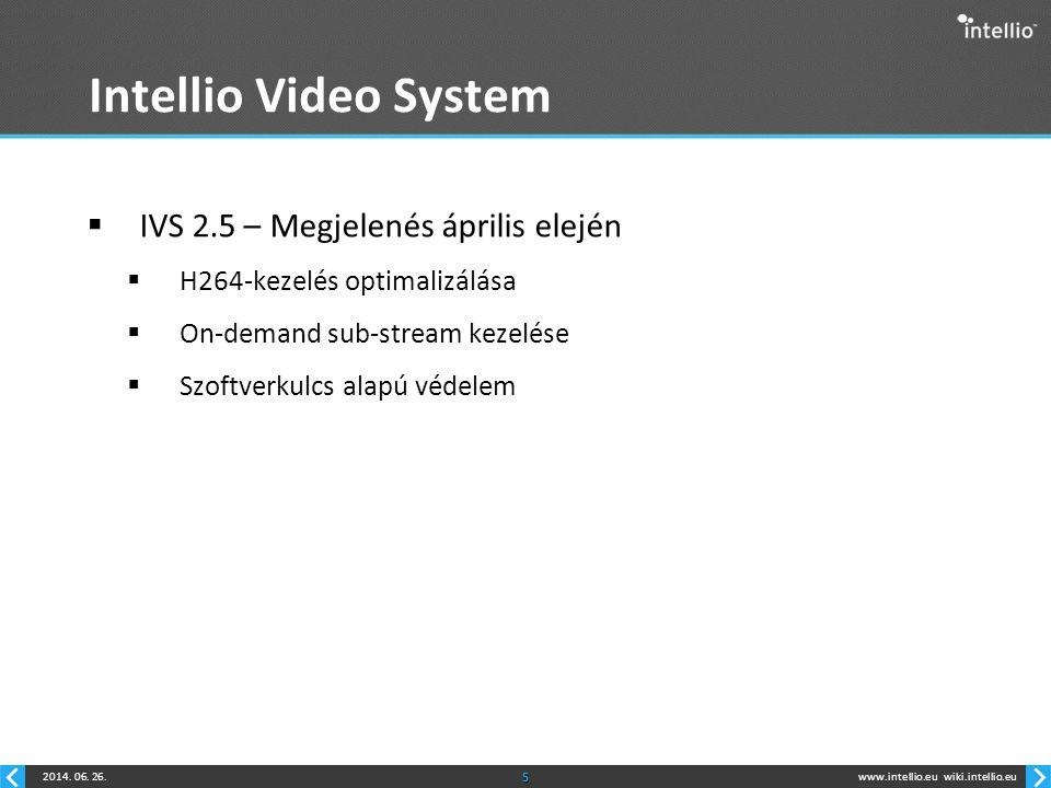 www.intellio.euwiki.intellio.eu2014. 06. 26.5 Intellio Video System  IVS 2.5 – Megjelenés április elején  H264-kezelés optimalizálása  On-demand su