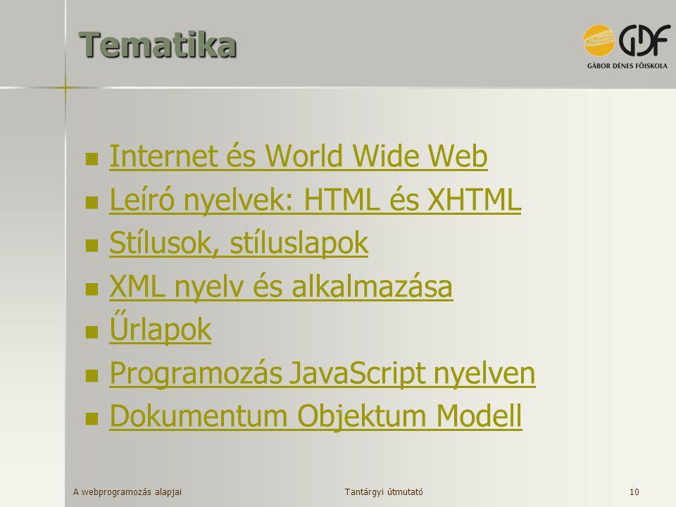 A webprogramozás alapjai 10Tematika  Internet és World Wide Web Internet és World Wide Web  Leíró nyelvek: HTML és XHTML Leíró nyelvek: HTML és XHTM