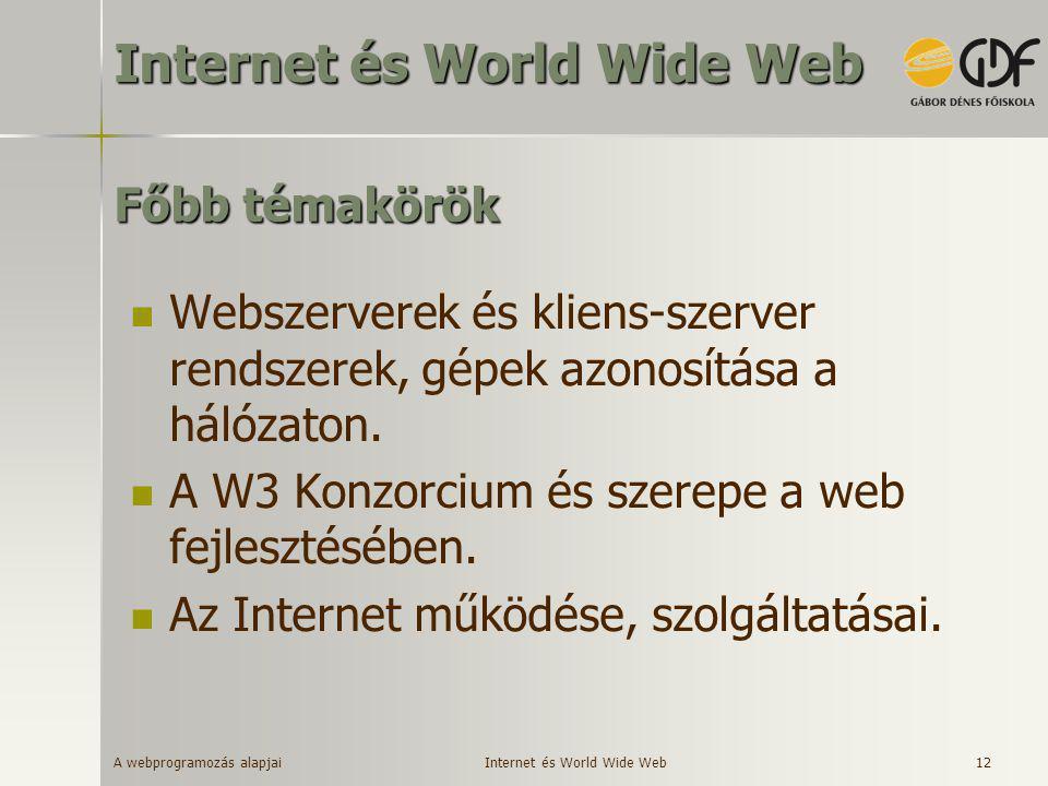 A webprogramozás alapjai 12 Főbb témakörök  Webszerverek és kliens-szerver rendszerek, gépek azonosítása a hálózaton.  A W3 Konzorcium és szerepe a