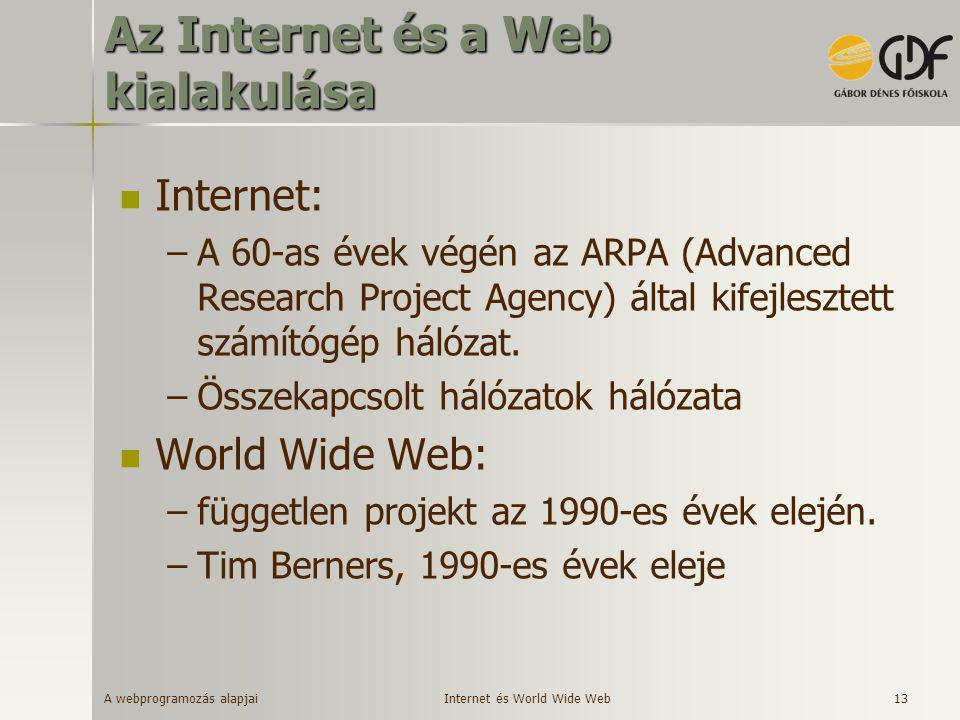 A webprogramozás alapjai 13 Az Internet és a Web kialakulása  Internet: –A 60-as évek végén az ARPA (Advanced Research Project Agency) által kifejles