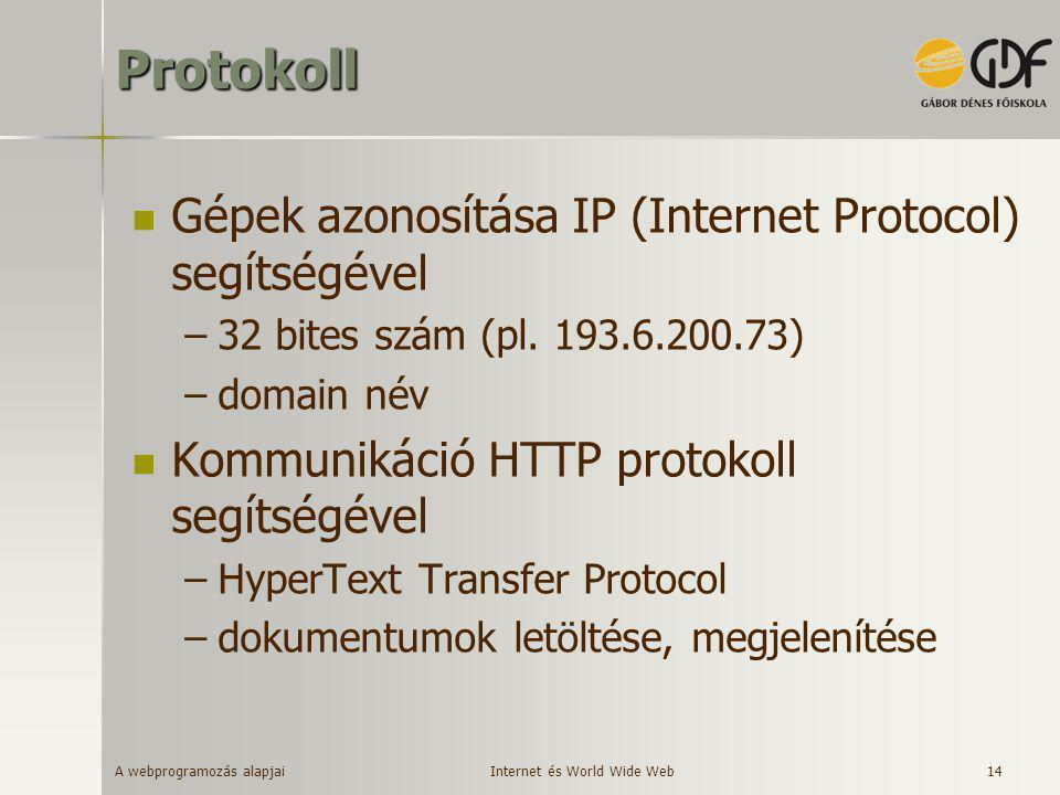 A webprogramozás alapjai 14Protokoll  Gépek azonosítása IP (Internet Protocol) segítségével –32 bites szám (pl. 193.6.200.73) –domain név  Kommuniká