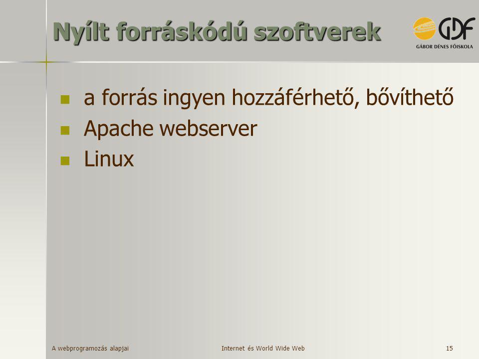 A webprogramozás alapjai 15 Nyílt forráskódú szoftverek  a forrás ingyen hozzáférhető, bővíthető  Apache webserver  Linux Internet és World Wide We