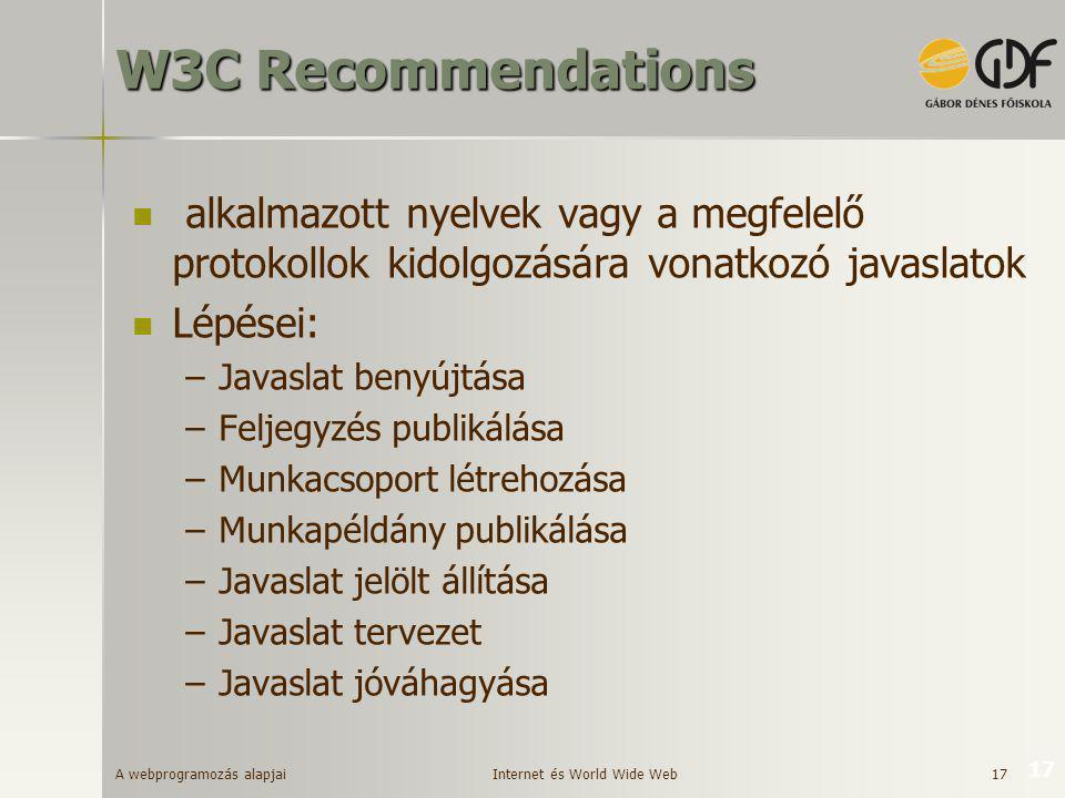 A webprogramozás alapjai 17 17 W3C Recommendations  alkalmazott nyelvek vagy a megfelelő protokollok kidolgozására vonatkozó javaslatok  Lépései: –J
