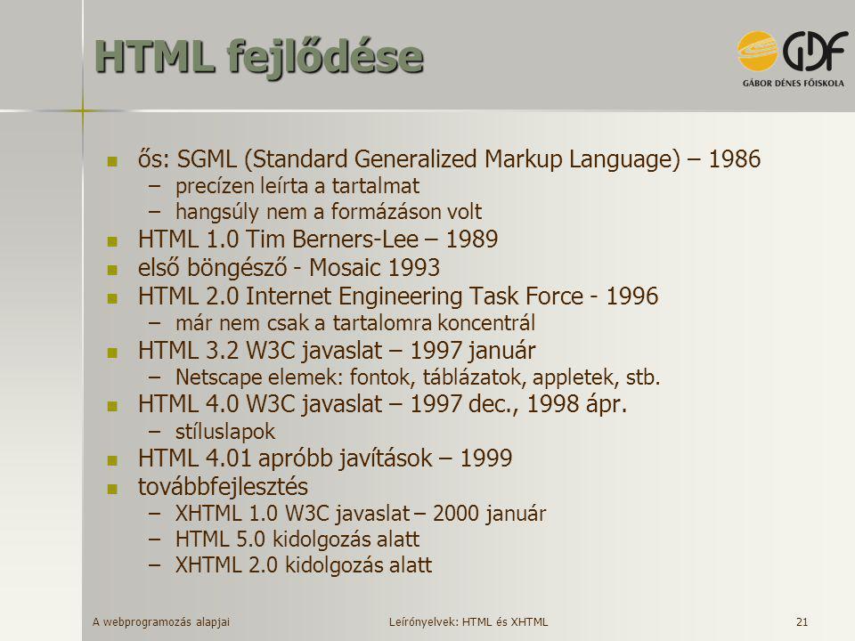 A webprogramozás alapjai 21 HTML fejlődése  ős: SGML (Standard Generalized Markup Language) – 1986 –precízen leírta a tartalmat –hangsúly nem a formá