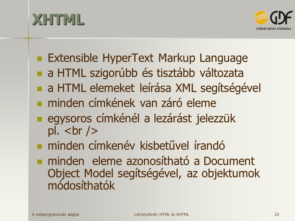A webprogramozás alapjai 23XHTML  Extensible HyperText Markup Language  a HTML szigorúbb és tisztább változata  a HTML elemeket leírása XML segítsé