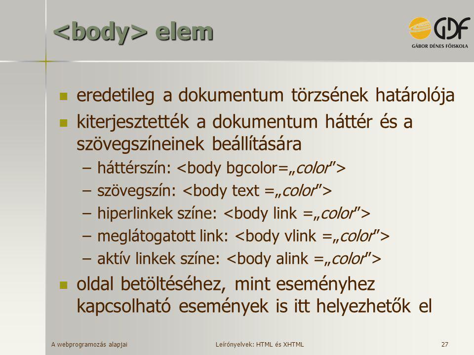 A webprogramozás alapjai 27 elem elem  eredetileg a dokumentum törzsének határolója  kiterjesztették a dokumentum háttér és a szövegszíneinek beállí