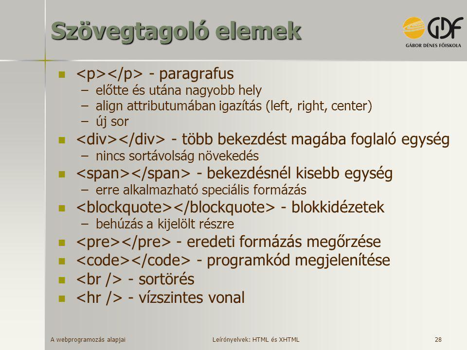 A webprogramozás alapjai 28 Szövegtagoló elemek  - paragrafus –előtte és utána nagyobb hely –align attributumában igazítás (left, right, center) –új