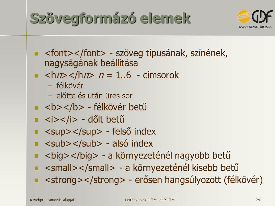 A webprogramozás alapjai 29 Szövegformázó elemek  - szöveg típusának, színének, nagyságának beállítása  n = 1..6 - címsorok –félkövér –előtte és utá