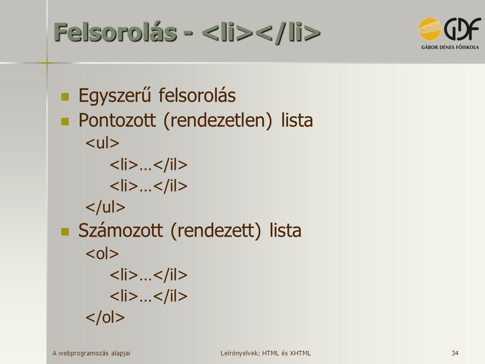A webprogramozás alapjai 34 Felsorolás - Felsorolás -  Egyszerű felsorolás  Pontozott (rendezetlen) lista …  Számozott (rendezett) lista … Leírónye