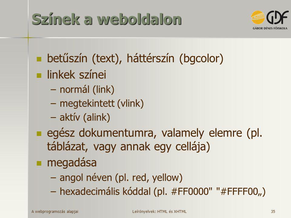 A webprogramozás alapjai 35 Színek a weboldalon  betűszín (text), háttérszín (bgcolor)  linkek színei –normál (link) –megtekintett (vlink) –aktív (a