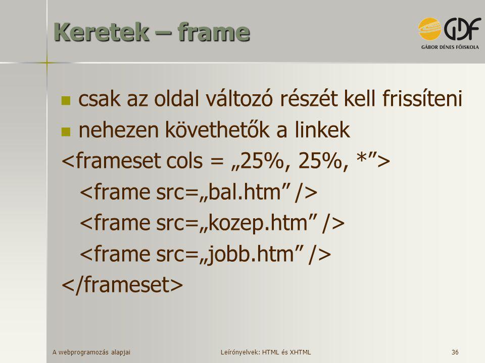 A webprogramozás alapjai 36 Keretek – frame  csak az oldal változó részét kell frissíteni  nehezen követhetők a linkek Leírónyelvek: HTML és XHTML