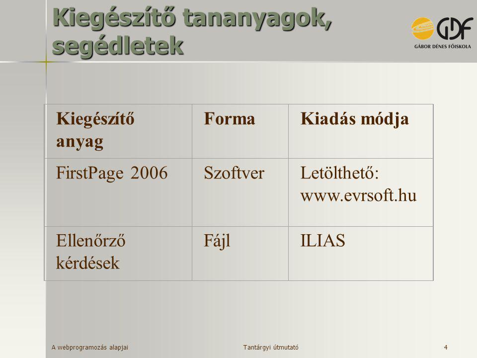 A webprogramozás alapjai 4 Kiegészítő tananyagok, segédletek Kiegészítő anyag FormaKiadás módja FirstPage 2006SzoftverLetölthető: www.evrsoft.hu Ellen
