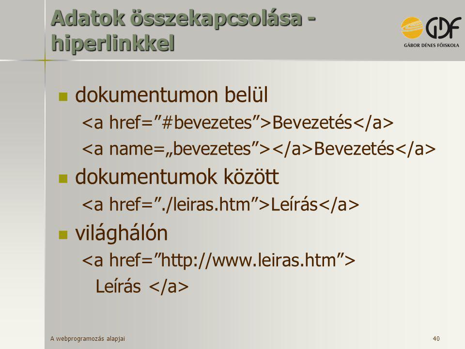 A webprogramozás alapjai 40 Adatok összekapcsolása - hiperlinkkel  dokumentumon belül Bevezetés  dokumentumok között Leírás  világhálón Leírás