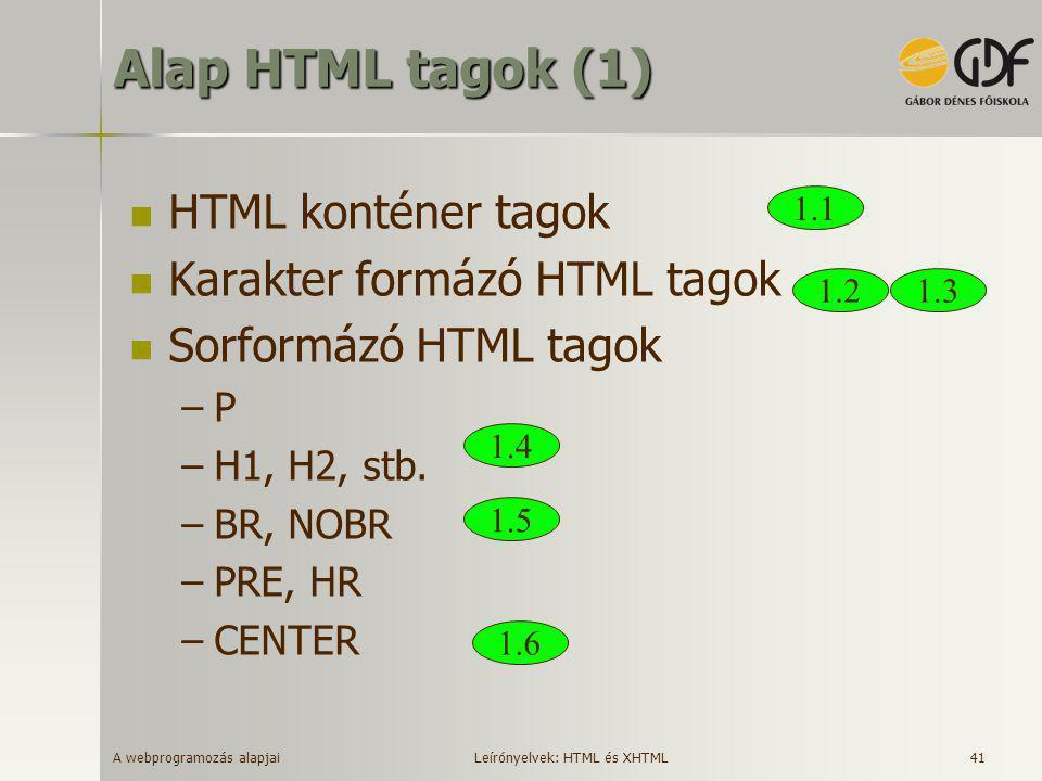 A webprogramozás alapjai 41 Alap HTML tagok (1)  HTML konténer tagok  Karakter formázó HTML tagok  Sorformázó HTML tagok –P –H1, H2, stb. –BR, NOBR