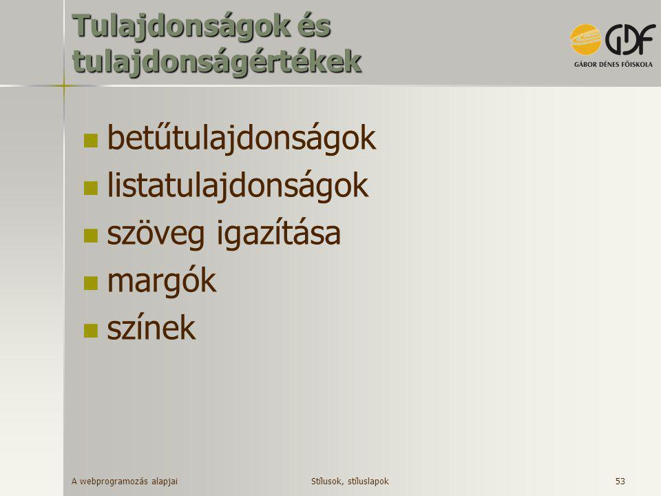 A webprogramozás alapjai 53 Tulajdonságok és tulajdonságértékek  betűtulajdonságok  listatulajdonságok  szöveg igazítása  margók  színek Stílusok