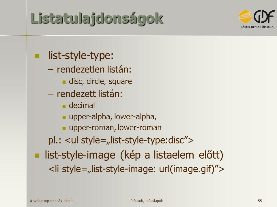 A webprogramozás alapjai 55Listatulajdonságok  list-style-type: –rendezetlen listán:  disc, circle, square –rendezett listán:  decimal  upper-alph