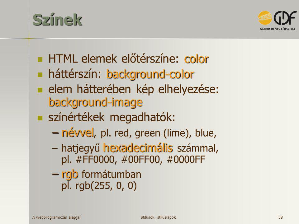 A webprogramozás alapjai 58Színek color  HTML elemek előtérszíne: color background-color  háttérszín: background-color background-image  elem hátte