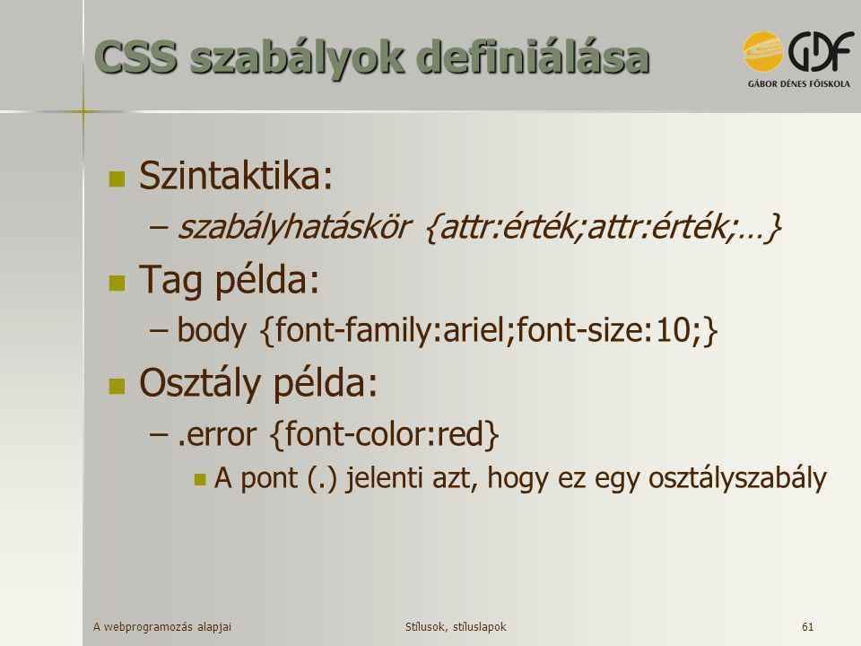 A webprogramozás alapjai 61 CSS szabályok definiálása  Szintaktika: –szabályhatáskör {attr:érték;attr:érték;…}  Tag példa: –body {font-family:ariel;
