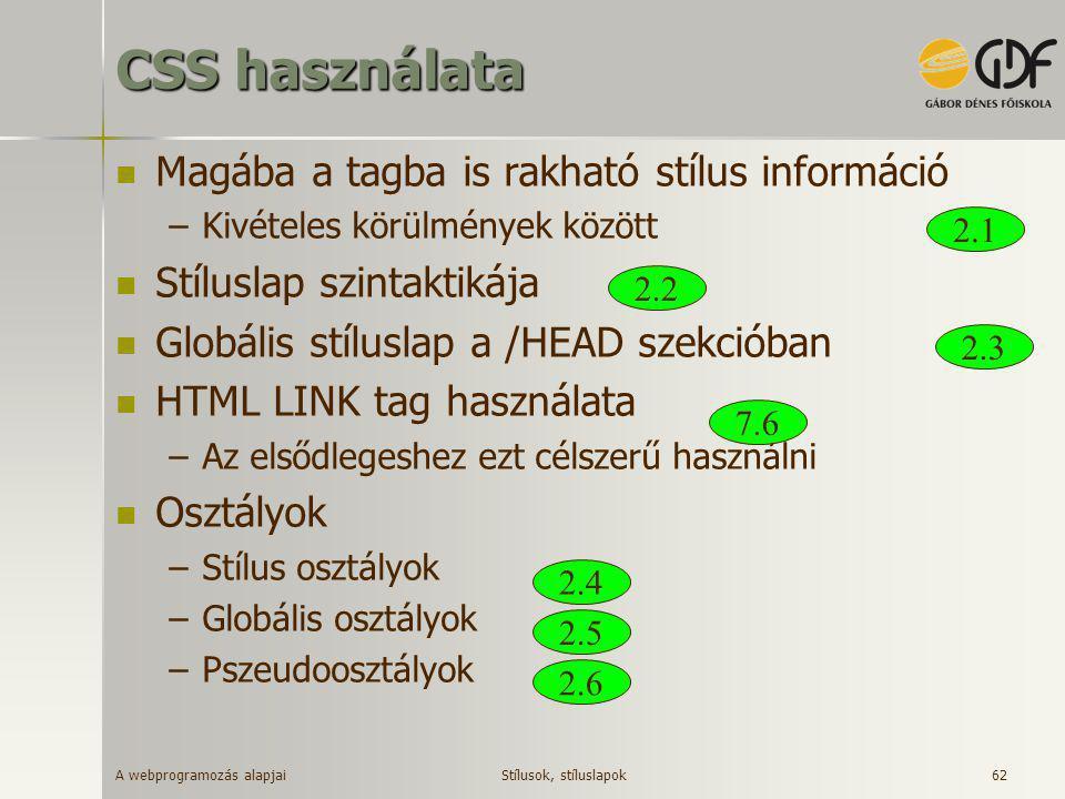 A webprogramozás alapjai 62 CSS használata  Magába a tagba is rakható stílus információ –Kivételes körülmények között  Stíluslap szintaktikája  Glo