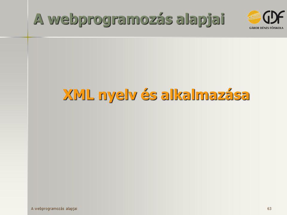 A webprogramozás alapjai 63 XML nyelv és alkalmazása A webprogramozás alapjai