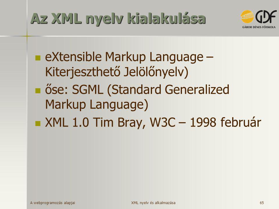 A webprogramozás alapjai 65 Az XML nyelv kialakulása  eXtensible Markup Language – Kiterjeszthető Jelölőnyelv)  őse: SGML (Standard Generalized Mark