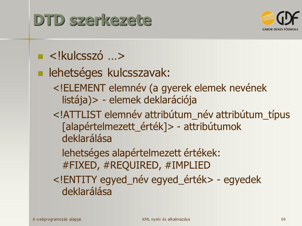 A webprogramozás alapjai 69 DTD szerkezete   lehetséges kulcsszavak: - elemek deklarációja - attribútumok deklarálása lehetséges alapértelmezett ért