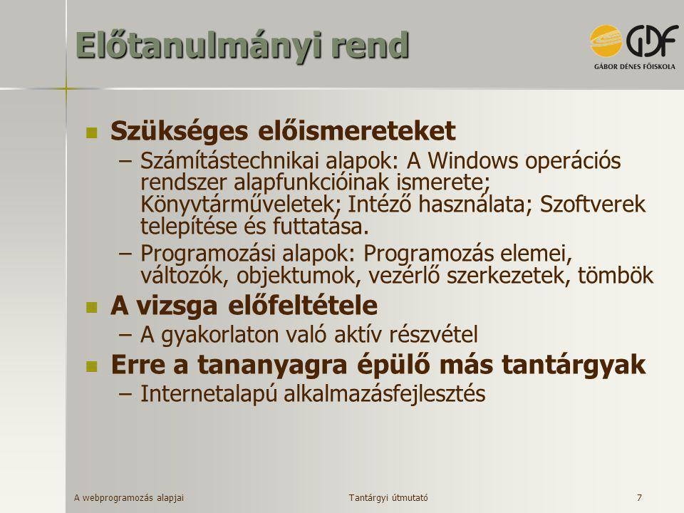 A webprogramozás alapjai 7 Előtanulmányi rend  Szükséges előismereteket –Számítástechnikai alapok: A Windows operációs rendszer alapfunkcióinak ismer