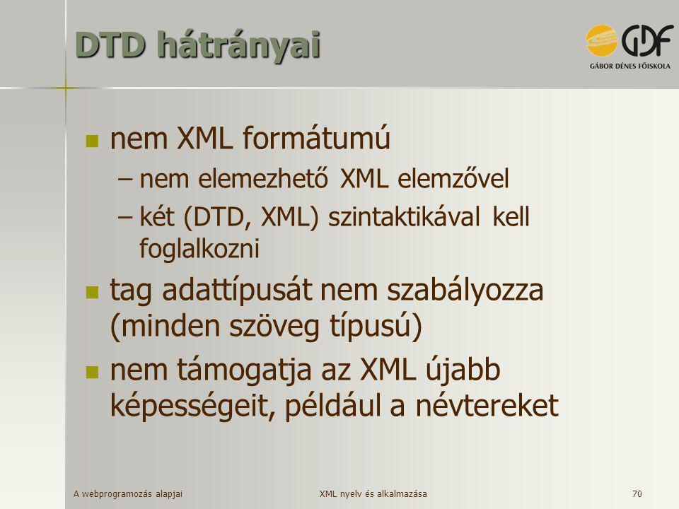 A webprogramozás alapjai 70 DTD hátrányai  nem XML formátumú –nem elemezhető XML elemzővel –két (DTD, XML) szintaktikával kell foglalkozni  tag adat