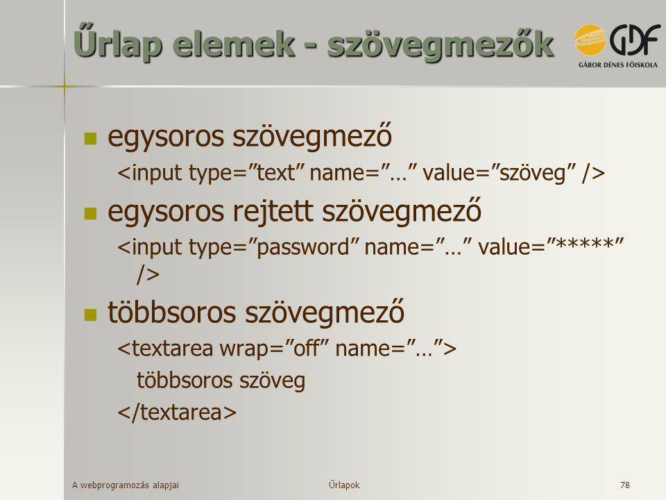 A webprogramozás alapjai 78 Űrlap elemek - szövegmezők  egysoros szövegmező  egysoros rejtett szövegmező  többsoros szövegmező többsoros szöveg Űrl