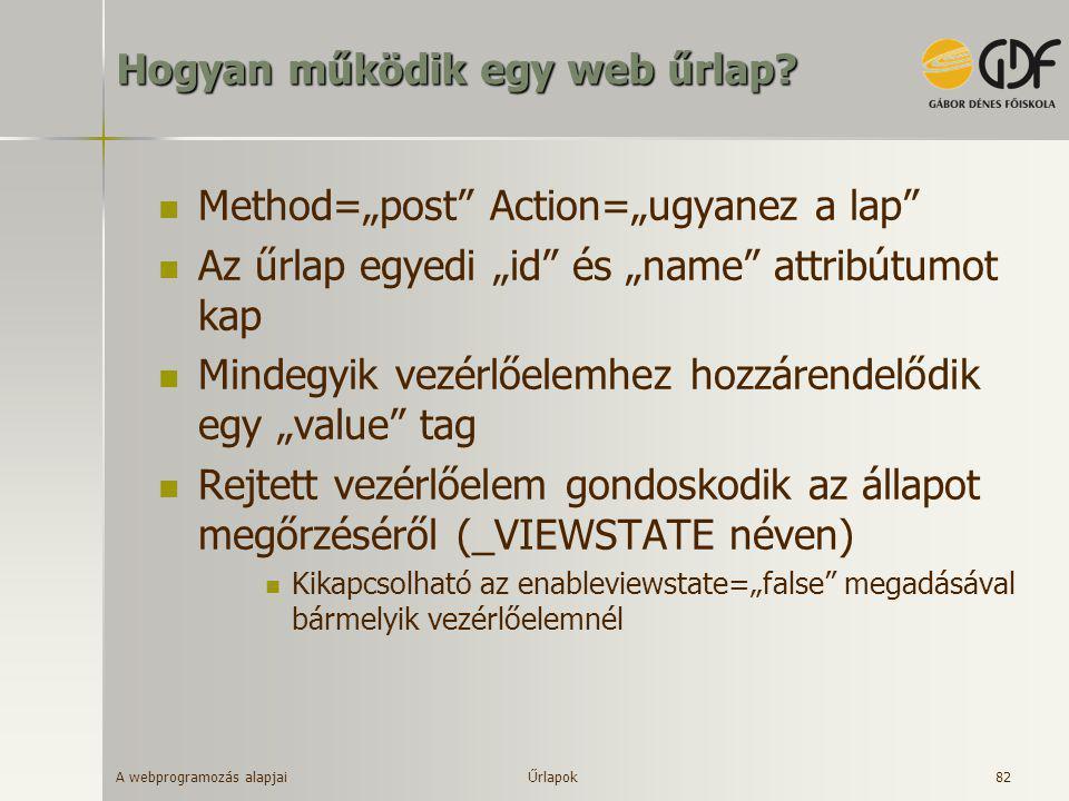 """A webprogramozás alapjai 82 Hogyan működik egy web űrlap?  Method=""""post"""" Action=""""ugyanez a lap""""  Az űrlap egyedi """"id"""" és """"name"""" attribútumot kap  M"""