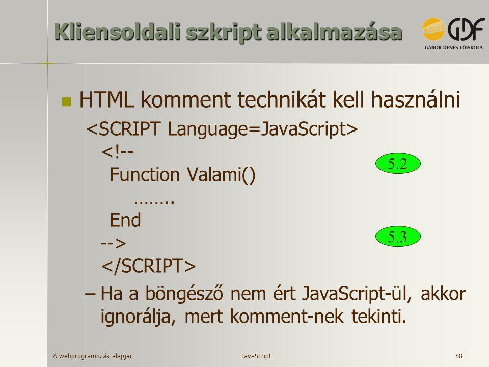 A webprogramozás alapjai 88 Kliensoldali szkript alkalmazása  HTML komment technikát kell használni –Ha a böngésző nem ért JavaScript-ül, akkor ignor