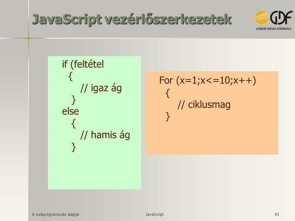 A webprogramozás alapjai 93 JavaScript vezérlőszerkezetek if (feltétel { // igaz ág } else { // hamis ág } For (x=1;x<=10;x++) { // ciklusmag } JavaSc